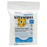 Petkin Unscented Kitty Wipes - 15 Pack