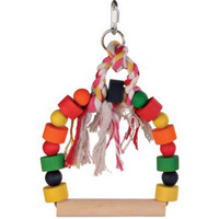 Bowed Bird Swing with Wood Coloured Blocks - 13x19Cm