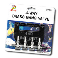 4-Way Brass Gang Aquarium Valve