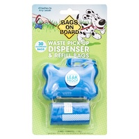 Bags On Board Waste Pick-Up Dispenser & Refill Bags - Pack 30 (Blue Bone)