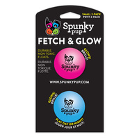 Spunky Pup Fetch & Glow Ball - Small (5cm) (2 Pack)