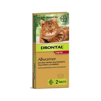 Drontal For Large Cats up to 6kg - 2 Tablets