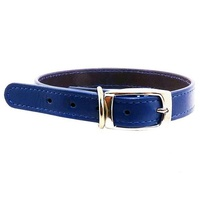 Beau Pets Black Leather Deluxe Dog Collar - 40cm - Blue