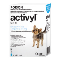 Activyl for Very Small Dogs 1.5-6.5 kgs - 6 Pack - Light Blue