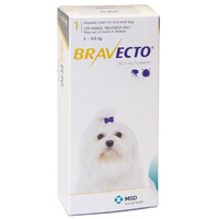 Bravecto for X-Small Dogs 2-4.5 kg - Yellow - 1 Tablet (3 months)
