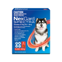 NexGard SPECTRA for Dogs 30.1-60 kg - 12 Pack - Red