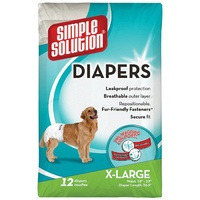 Simple Solution Disposable Dog Diapers - 12 Pack - X-Large