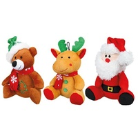 Christmas Plush Dog Toy (Trixie) - 20cm (Santa, Bear or Reindeer)