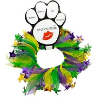 Party Collar Mardi Gras Purple & Green with Stars - Small (25cm)