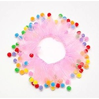 Party Collar Birthday Pink with Pom Poms - Large (35cm)