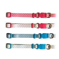 Beau Pets Puppy Spot Collar Adjustable - 30cm - Pink on White