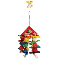 Avi One Parrot Toy Wicker Balls with Wooden Triangle Top - 20x44cm