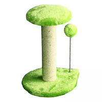 Pet One Cat Scratching Tree Post With Platform & Spring Ball - 20x20x29cm (green)