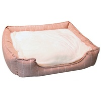 Pet One Rectangular Dog Bed - Squares Rose Pink - Medium (65x55x17.5cm)
