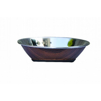ZeeZ Stainless Steel Hi-Back Pet Bowl - 1L (Wood Print)